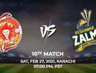 PSL 6 Match 10 Peshawar Zalmi Vs. Islamabad United 27 February 20 ..