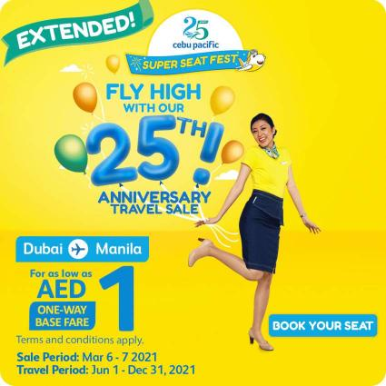 EXTENDED TREAT: Dubai-Manila flights as low as AED1 still up for grabs in Cebu Pacific's Super Seat Fest!