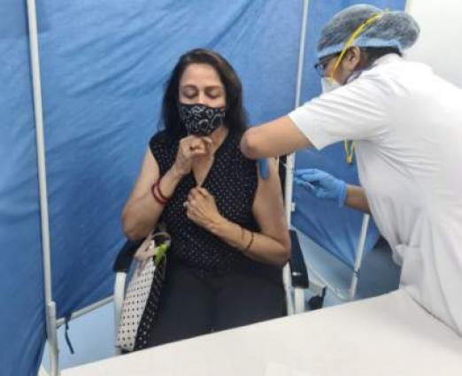 Hema Malini receives COVID-19 vaccine