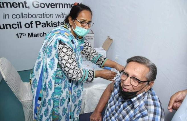 Covid-19 vaccination continues on the second day at Arts Council, Karachi