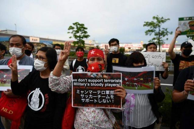 Japan thrash Myanmar after protests on off pitch