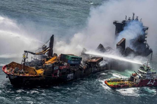 Sri Lanka questions burning cargo ship crew as ecological devastation assessed