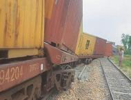 Freight train derails near Kotri railway station two injured