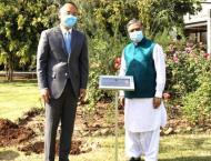 FM Qureshi, Ambassador Nong plant Pak-China `Friendship Tree' at  ..