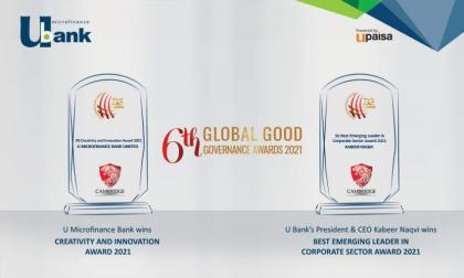 U Microfinance Bank Ltd. and It's President & CEO wins Global Good Governance Awards, 2021