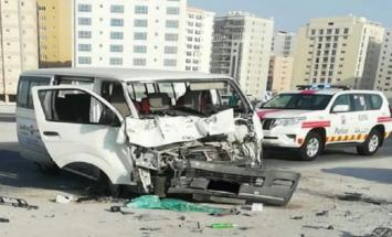 اصابة عدد من العمال الآسیویین اثر حادث ..