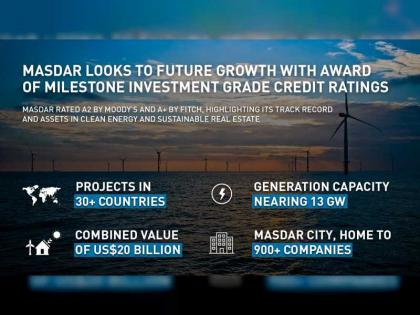 Masdar looks to future growth with award of milestone investment grade credit ratings