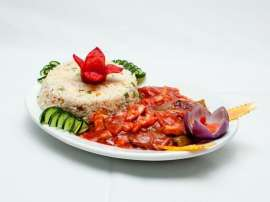 Fish Shashlik With Corn Rice