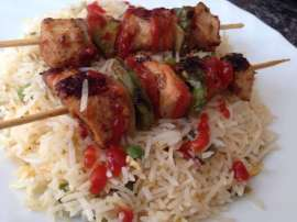 Shashlik Sticks With Rice