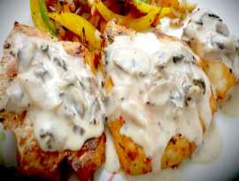 Grilled Fish Steaks With Mushroom Sauce