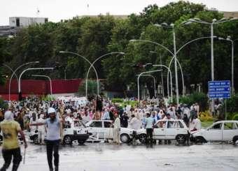 Clashes Outside PM Secretariat Islamabad