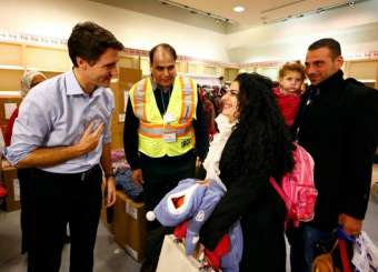Canadian Prime Minister Justin Trudeau Welcomes Syrian Refugees