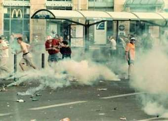 Clash Between English And Russian Football Fans In Paris