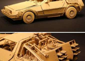 Japanese Cardboard Artist Turns Old Amazon Boxes Into Sculptures