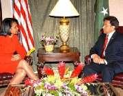 نیویارک، صدر جنرل مشرف امریکی وزیر خارجہ کونڈولیزا رائس سے ملاقات ..