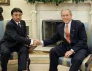 واشنگٹن ،  صدر جنرل مشرف امریکی صدر بش سے وائٹ ہاوس میں ملاقات کے دوران ..