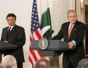 واشنگٹن،امریکی صدر بش اور صدر مشرف ملاقات کے بعد مشترکہ پریس کانفرنس ..