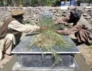مظفر آباد، آٹھ اکتوبر کے زلزلے میں ہلاک ہونے والے کی قبر پر اسکے رشتہ ..