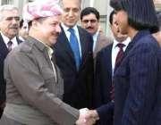 کردستان کے صدرمسعود برزانی امریکی وزیر خارجہ کونڈلیزارائس کا استقبال ..