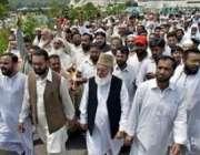 اسلام آباد،متحدہ مجلس عمل کے صدر قاضی حسین احمد لال مسجد جامعہ حفصہ ..