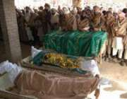 چارسدہ،خودکش حملہ میں جاںبحق ہونیوالے افراد کی نمازجنازہ ادا کی ..