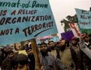 اسلام آباد: سماجی تنظیم کے کارکن جماعة الدعوة پر پابندیوں کے خلاف احتجاج ..