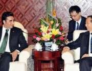 ناننگ، پیپلزپارٹی کے چئیرمین بلاول بھٹو زرداری چینی وزیر وانگ جیاروئی ..