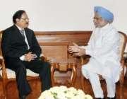 نئی دہلی، وفاقی وزیر تجارت مخدوم امین فہیم بھارتی وزیراعظم منموہن ..