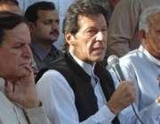 اسلامآباد، تحریک انصاف کے سربراہ عمران خان پریس کانفرنس سے خطاب کر ..
