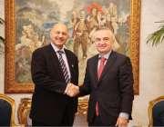 ترانا: سینیٹر مشاہد حسین سید البانیہ کی پارلیمنٹ کے صدر مسٹرلیر میٹا ..