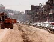 راولپنڈی ، مری روڈ پر میٹرو بس پراجیکٹکیلئے تعمیراتی کام جاری ہے۔