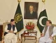 اسلام آباد، بی این پی کے رہنما اختر مینگل وزیراعظم ہائوس میں وزیراعظم ..