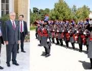 کوئٹہ، صدر مملکت ممنون حسین کو گورنر ہائوس پہنچنے پر گارڈ آف آنر پیش ..