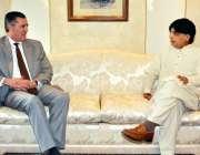 اسلامآباد، امریکی سفیر رچرڈ اولسن وزیر داخلہ چوہدری نثار علی خان ..