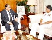 اسلام آباد: صدر ممنون حسین سے چیف آف نیول اسٹاف آصف سندھیلہ ملاقات کر ..