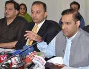 لاہور، وزیر مملکت برائے پانی و بجلی عابد شیر علی پریس کانفرنس سے خطاب ..