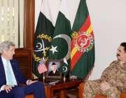 راولپنڈی، امریکی وزیر خارجہ جان کیری جنرل ہیڈکوارٹرز میں آرمی چیف ..