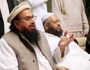 کراچی، حافظ سعید اور مفتی نعیم جامعہ بنوریہ عالمیہ میں پریس کانفرنس ..