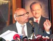 لاہور، چوہدری محمد سرور پریس کانفرنس کے دوران گورنر پنجاب کے عہدے سے ..