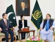 اسلام آباد، چینی وزیر خارجہ وانگ ژی وزیراعظم ہاؤس میں وزیراعظم نواز ..
