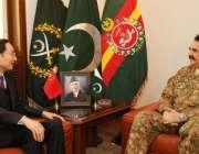 راولپنڈی، چینی سفیر سن وائیڈونگ جنرل ہیڈکوارٹرز میں آرمی چیف جنرل ..