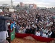 ٹیکسلا، امیر جماعت اسلامی سراج الحق جلسہ عام سے خطاب کر رہے ہیں۔