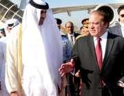 راولپنڈی، وزیراعظم نواز شریف پاکستان پہنچنے پر امیر قطر شیخ تمیم بن ..