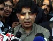 اسلام آباد: وزیر داخلہ چوہدری نصار علی خان پارلیمینٹ ہاؤس کے باہر میڈیا ..