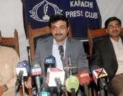 کراچی: پریس کلب میں وزیر اعلیٰ سندھ کے مشیر برائے کھیل فضل بھٹ پریس ..