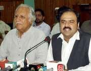 پشاور: قومی وطن پارٹی کے صوبائی صدر سکندر خان حیات شیرپاؤ پریس کانفرنس ..