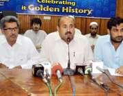 پشاور: UC-61کے امید وار امان اللہ پریس کانفرنس سے خطاب کر رہے ہیں۔