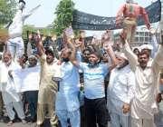 لاہور: ریلوے پریم یونین کے زیر اہتمام وفاقی بجٹ کے خلاف پریس کلب کے ..