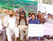 پشاور: متاثرین تحصیل سپین وام کے زیر اہتمام مظاہرین احتجاجی کیمپ میں ..