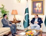 اسلام آباد: صدر مملکت ممنون حسین سے وفاقی وزیر پورٹ اینڈ شپنگ کامران ..